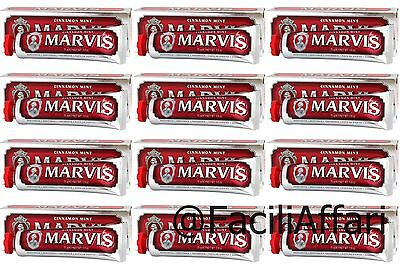 12 X dentifricio Marvis cinnamon mint menta e cannella per denti offerta  stock
