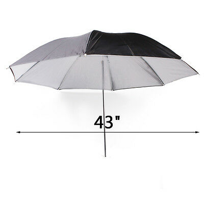 "Photo Studio 43"" Black/White Umbrella Reflector for Photography Flash Lighting"