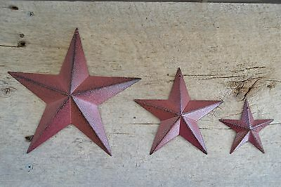 "Set of 3  8""  / 5.5"" / 3.5"" BURGUNDY BLACK BARN STAR Metal Tin Primitive Country"