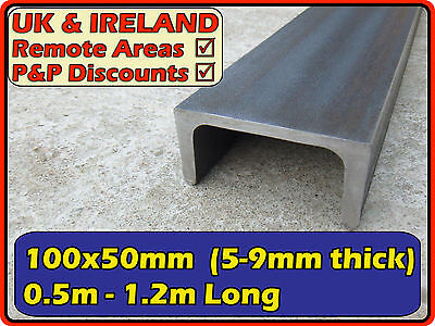 "Mild Steel Channel (iron C U section) | 100x50mm (4"" 2"") 100mm 4x2 