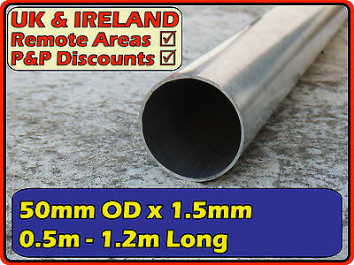 "Aluminium Round Tube (pipe post pole thin) | 50mm OD diameter 1.5mm (< 2"")"