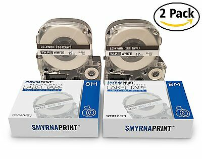 2 Pack Epson LabelWorks Tape LW-300 LW-400 LW-500 LW-600 Black on White