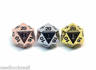 Solid Metal 3pc d20 Polyhedral Dice Set Bright Copper, Chrome Silver, Gold D&D