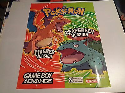 2004 Nintendo Gameboy Advance Pokemon Fire red & Leaf green Store Display Poster