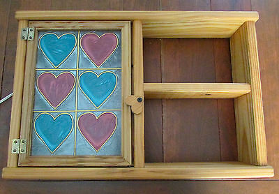 Vintage Stained Glass Light Up Hearts Wall Hanging Decor Solid Wood Frame Shelf