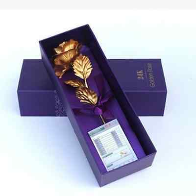 24K 6 Inch Gold Foil Plated Rose Flower Valentine's Day Gift Romantic+Purple Box