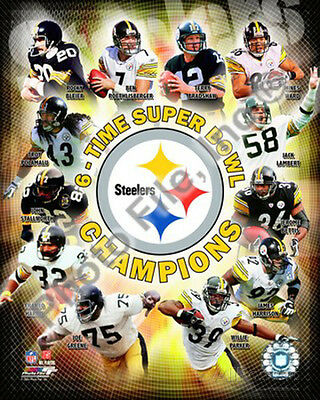 Pittsburgh Steelers 6-Time Super Bowl Champions Photo - 8x10