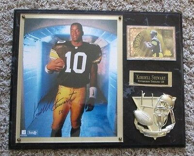 RARE KORDELL STEWART AUTO SIGNED PLAQUE PITTSBURGH STEELERS 12 x 15 INCHES