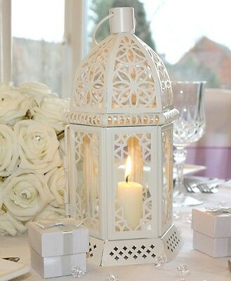 Cream Table Lantern Vintage Candle Holder Tea Light Wedding Decoration 30cm