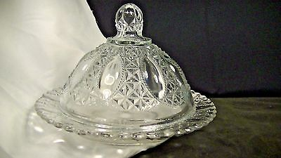 Round Glass Covered Butter Dish, Daisy & Button EAPG  #127