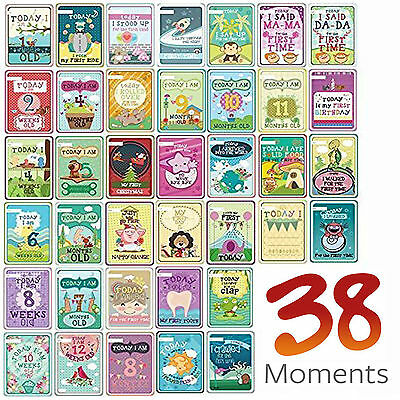 Milestone Baby Cards 38 Illustrated Moments Cards Baby Shower Newborn Gift