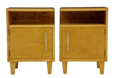 PAIR OF 1960's DECO INSPIRED BIRCH BEDSIDE TABLE CABINETS