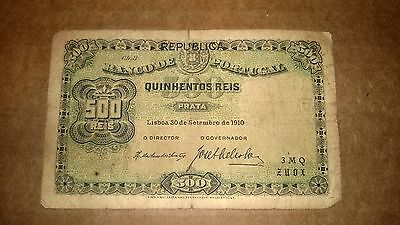 BANCO DE PORTUGAL 500 QUINHENTOS REIS 1910 foreign currency