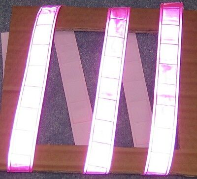 Pink gloss sew on REFLECTIVE TAPE PVC 3'x1""