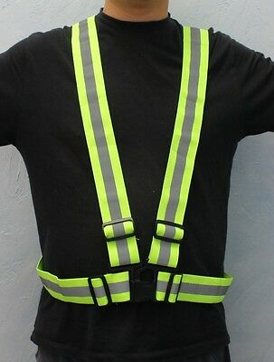 CSA Lime New High Visibility Reflective Safety Vest Jogging Strap Harness