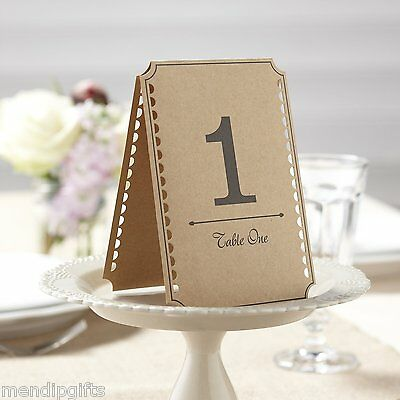 Ginger Ray Brown Kraft Wedding Party Table Numbers 1-12 - Vintage Affair