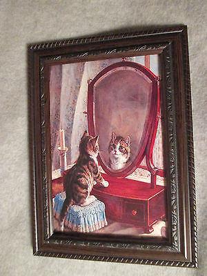 "VINTAGE PHOTO PRINT in GLASS Brown Frame KITTEN CAT Dresser Mirror 6X4"" Small"