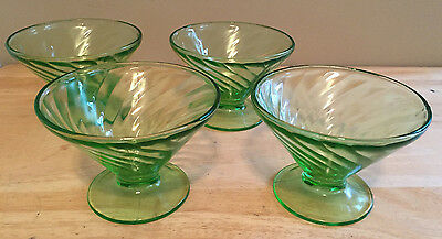 Green Depression Glass Lot of 4 Cone Sherbet Dessert Cups Anchor Hocking Spiral