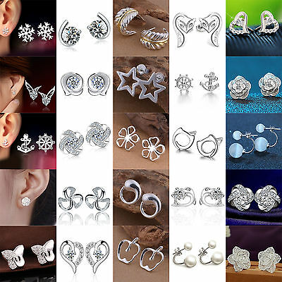 Hi Luxury Elegant Women`s 925 Sterling Silver Crystal Ear Stud Earrings Jewelry