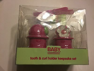 Baby Essentials Pink Tooth and Curl Holder Keepsake Set New