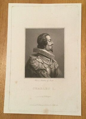 1823 - Engraved Portrait Of King Charles I - From A Medallion By Briot.