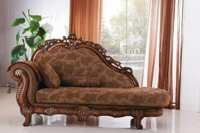 Meridian 681 Living Room Chaise Hand Carved Brown Traditional Style