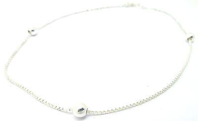 Sterling Silver  Box and Ball link Ankle Chain                            A42390