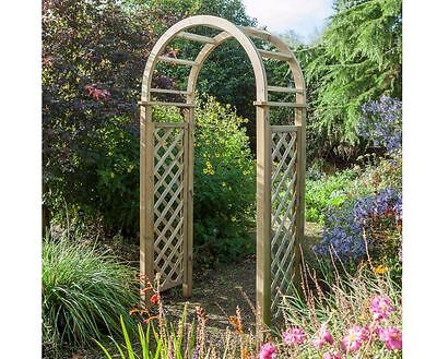 Wooden Garden Arch Timber Trellis Fixings Arched Climbing Plants Roses Round Top