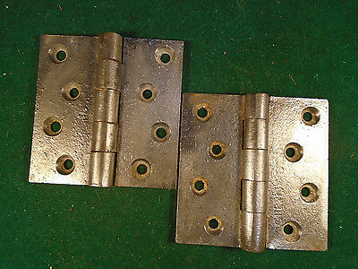 "Pair Rare Signed 3.5""  X 3.5"" Greenwood Cast Iron Hinges: Cincinnati  -  (5837)"