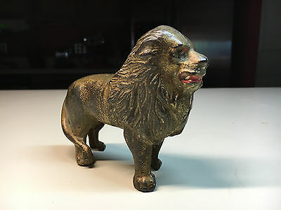 """Old Vtg Cast Iron Gold Tone Lion Animal Still Piggy Coin Bank 5"""" x 4"""" Red Lips"""