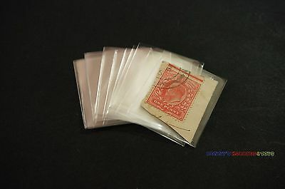 100pcs Philately Stamp Sleeves Protective Transparent OPP Pocket 40mm x 35mm