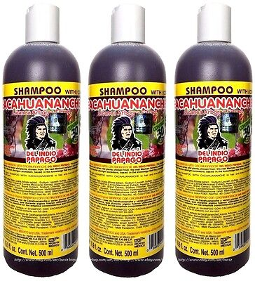 3 Shampoo Cacahuananche Del Indio PAPAGO w/ Licania Tree Extract Strengthen Hair