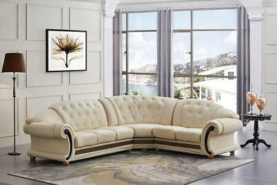 ESF Versachi Classic Luxury Ivory Leather Sectional Sofa Right Hand Facing