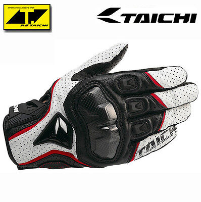 Mens RST390 Taichi Motorcycle Perforated leather Mesh Gloves RS Red Black White