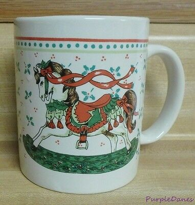 CHRISTMAS ROCKING HORSE MUG or CUP Pretty Pony Porcelain Decorated Holly Berries