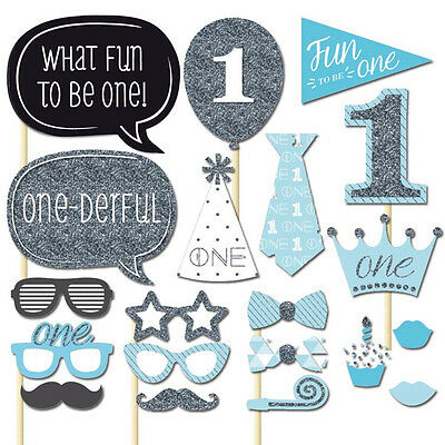 20pc Baby Shower Photo Booth Props Blue Boy 1st First Birthday Party Photography
