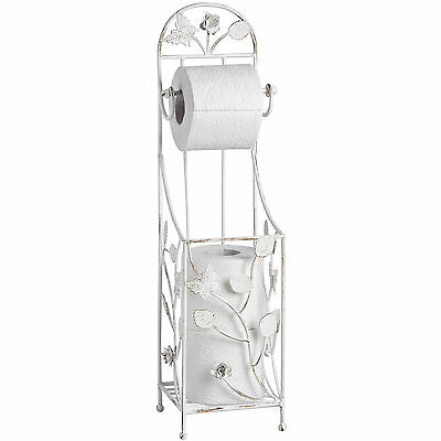Cream Metal Toilet Roll Stand - Useful Accessory For The Bathroom.