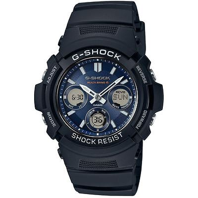 Casio G-Shock Solar Powered & Radio Controlled Watch - Black With Blue Dial