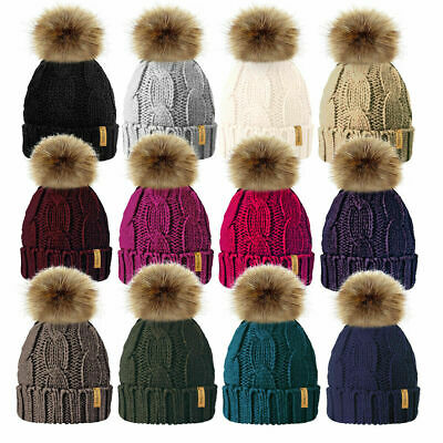 Ladies Chunky Soft Cable Knit Fleece Lined Beanie Bobble Hat Detachable Pom Pom