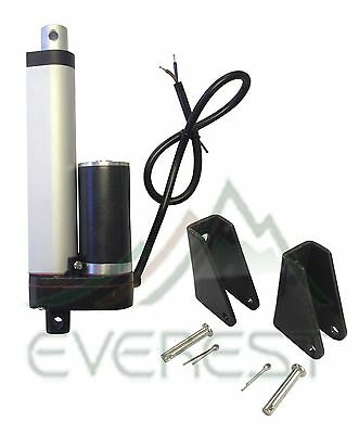 "Heavy Duty Linear Actuator 4"" Stroke 12V 225lb Max w/ Angle Mounting Brackets"