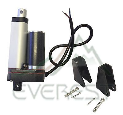 "Heavy Duty Linear Actuator 2"" Stroke 225lb Max 12V w/ Angle Mounting Brackets"