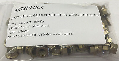 MS21042-6 SELF LOCKING NUT  SIZE:3//8-24 CAD II PLATE PACKAGE OF 100//EA