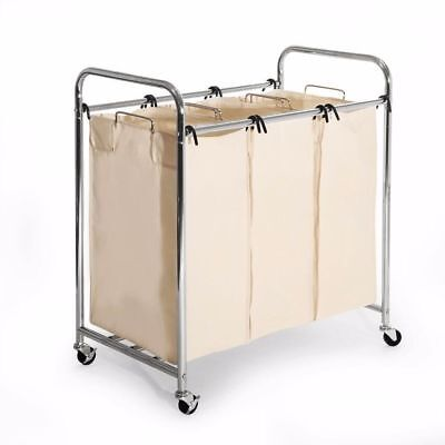 Laundry Hamper with 3 Removable Bags Heavy-Duty Laundry Organizer Cart W/ Wheels