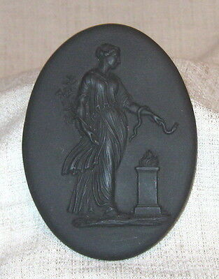 "19th Century Wedgwood 3 1/2"" Black Basalt Medallion with Woman and Snake"