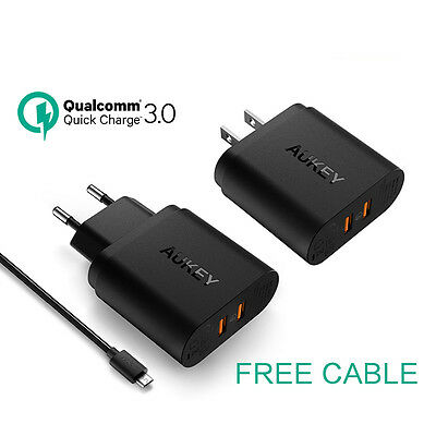 AUKEY 36W Dual USB Port  Travel Charger With Qualcomm Quick Charge 3.0 F Nexus 6