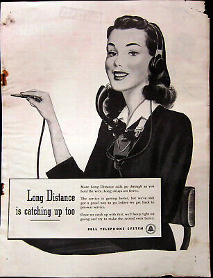 1946 Bell Telephone System Post War Long Distance Operator Org Vtg Print Ad 9X12
