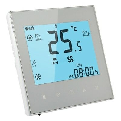 TECNOLOGIA White LCD Display Air Conditioning 2-Pipe Programmable Room Thermost