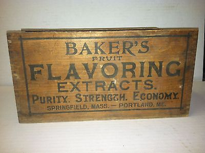 BAKERS Flavoring Extract Vintage Wood Box with Dovetail edges (small crate/box)