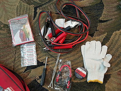 Roadside Emergency Kit Battery Jump Cables Tools Gloves in One Bag