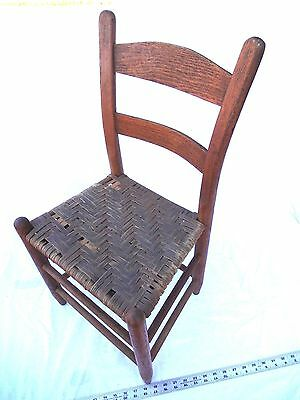 Antique Appalachian Childs Kids Oak Chair Rustic Primitive Country Dolls